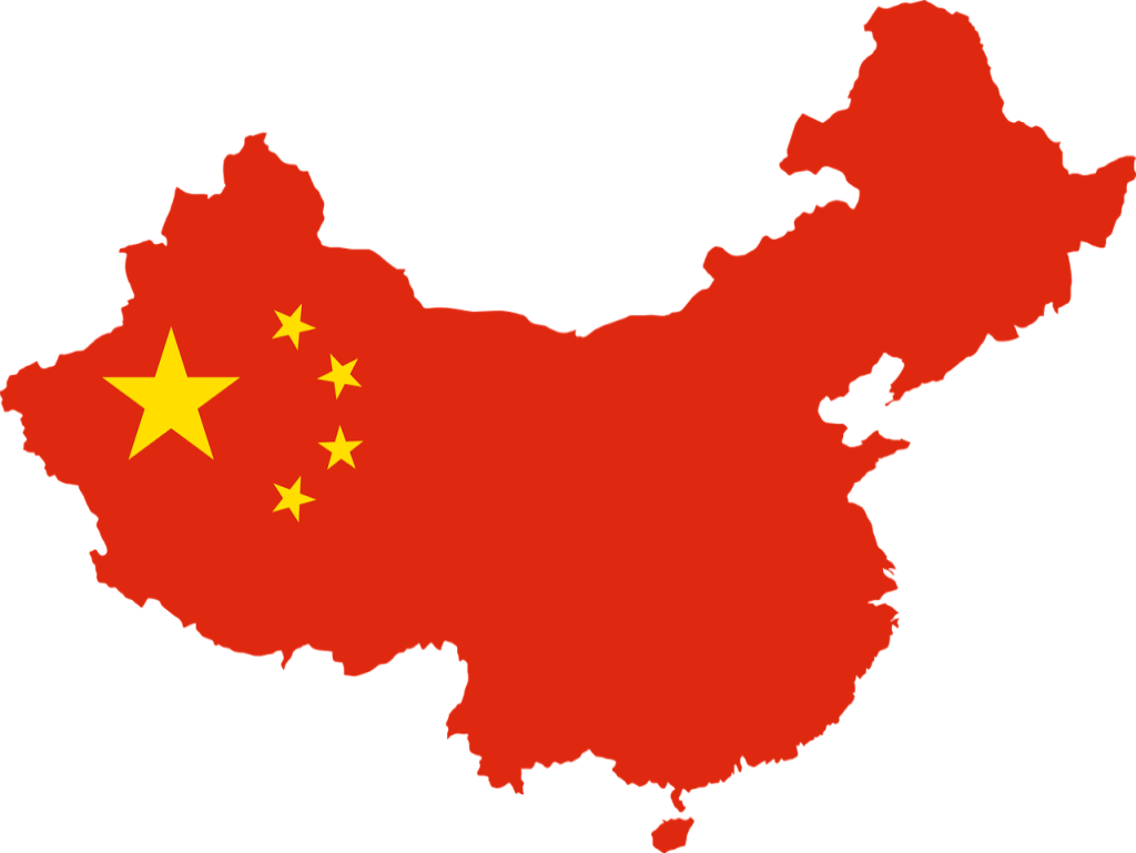 Outline of china filled in with its flag.