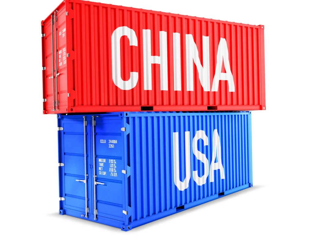 A red and blue container stacked with the red container having CHINA written on it and USA written on the blue container.