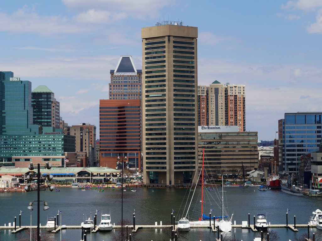 Baltimore's inner harbor featuring the world trade center building.